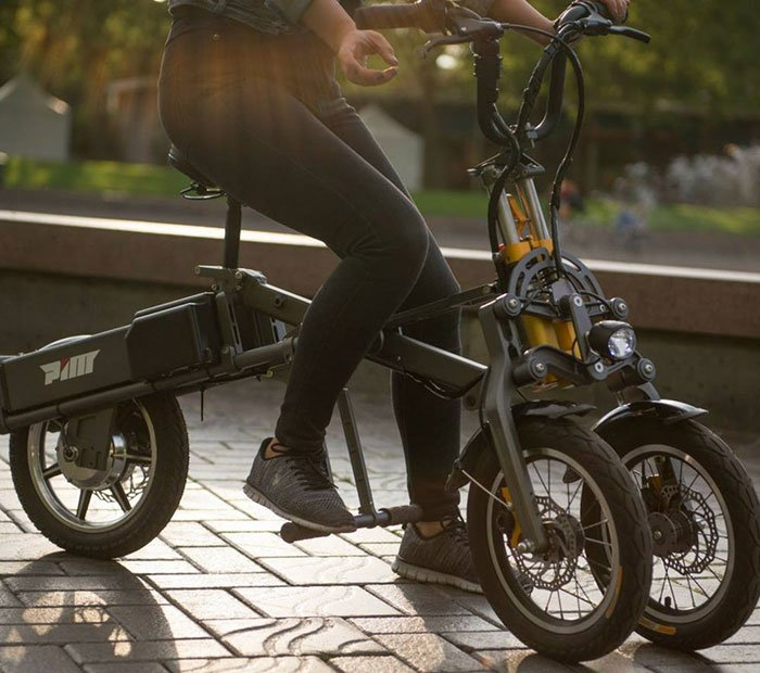 Pim-Bicycles-MYLO-Electric-Folding-Scooter-On-Road