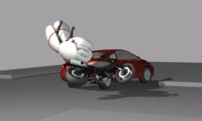 Motorcycle airbag with ejection seat concept