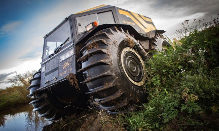 This all-terrain-vehicle has huge tires to conquer any terrain
