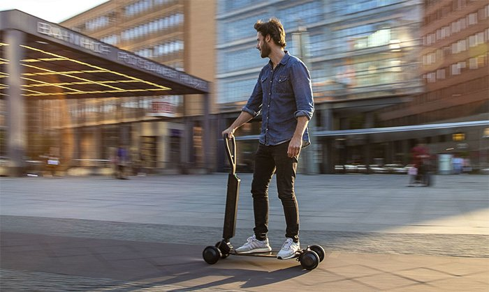 Audi e-tron Scooter combines an electric scooter and skateboard