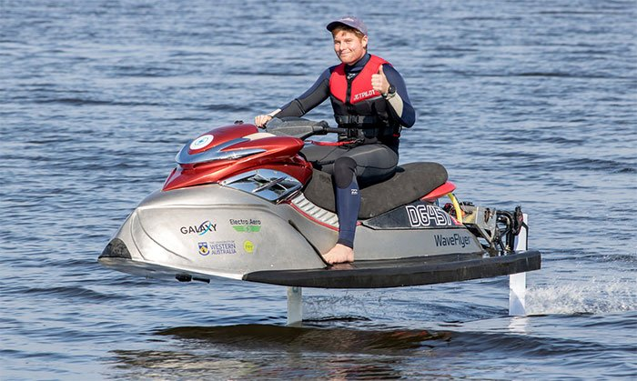 WaveFlyer electric hydrofoil jet ski flies above the water