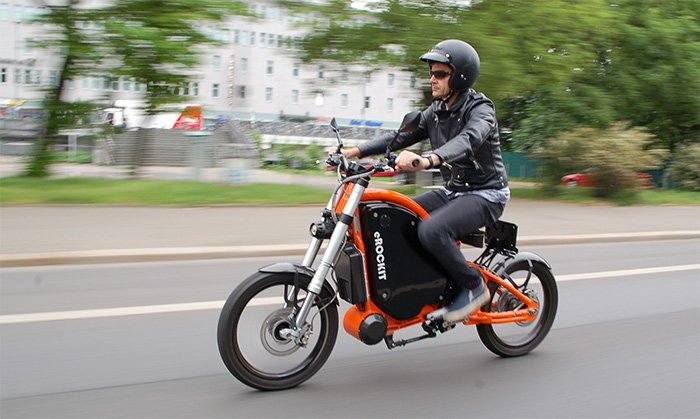 eROCKIT electric motorcycle has pedals, and can go 50 mph