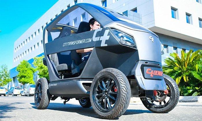 City-Transformer-Electric-Folding-Car-On-Road